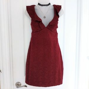 Lulu's Burgundy Ruffle Neck Lace Mini Dress Size L